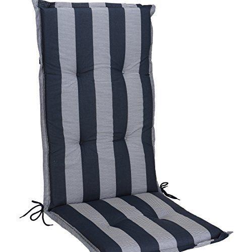 JEMIDI Stuhlauflage Hochlehner Gartenstuhl Hochlenerauflage 120cm x 50cm x 5cm Stuhl Stuhlkissen Sitzkissen Streifen