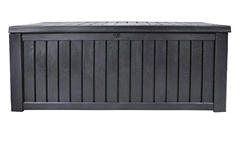 Ondis24 Rockwood Kissenbox 570 Liter Auflagenbox in Holz Optik Sitztruhe ca. 155 x 72 x 64 (H) cm, anthrazit