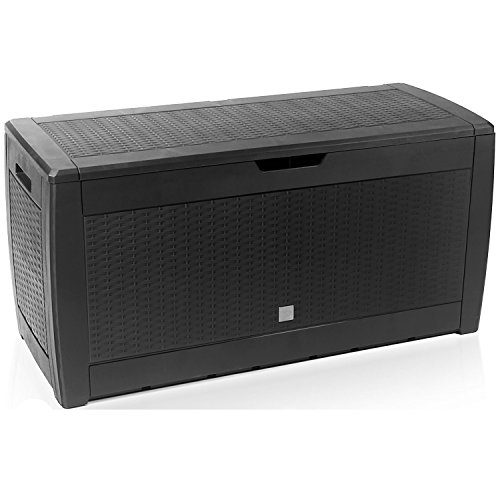 Mojawo® XXL Kunststoff Auflagenbox Anthrazit Kissenbox Gartenbox auf Rollen Rattan-Optik für Polsterauflagen Kunststoff wasserdicht 310Liter