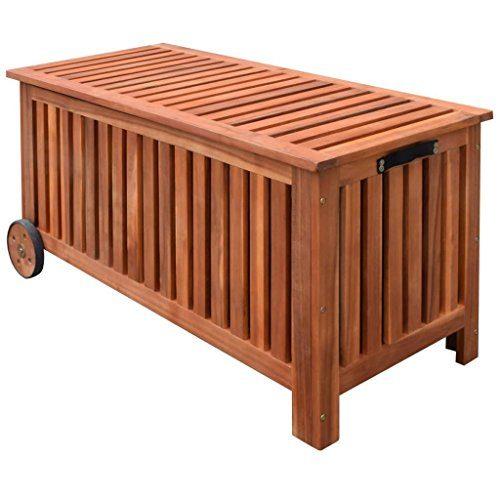 vidaXL Aufbewahrungsbox Gartentruhe Gartenbox Kissenbox + Räder Holz 118x52x58cm