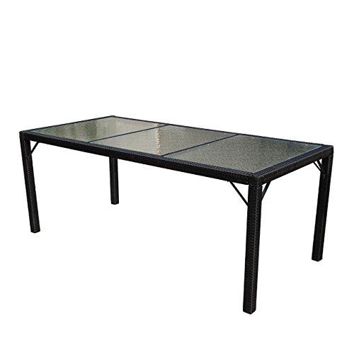Mendler Poly-Rattan Gartentisch Ariana, Tisch Esszimmertisch, 190x90cm Glas ~ anthrazit