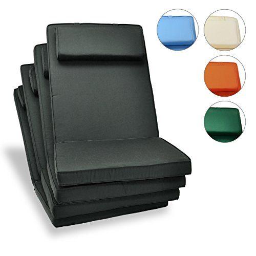 Nexos Divero Sitzauflage Stuhlkissen Sitzpolster 4er-Set für Gartenmöbel wie Hochlehner Gartenstuhl Campingstuhl Klappstuhl – bequem hochwertig robust - anthrazit