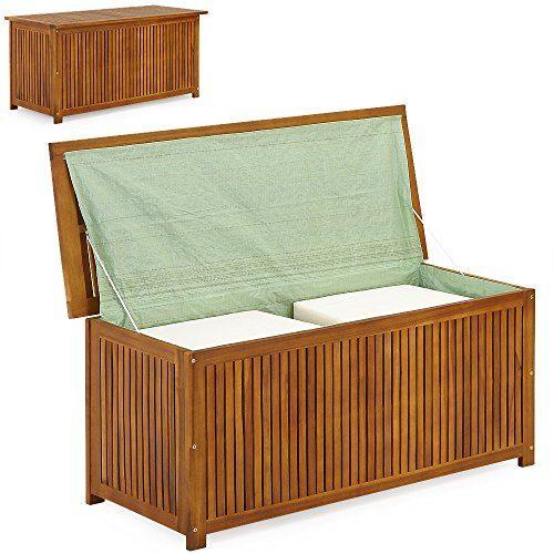 Auflagenbox Holz | Akazie | XXL 117cm | mit Innenplane | vorgeölt | Holztruhe Holz Kissenbox Gartenbox Gartentruhe Truhe