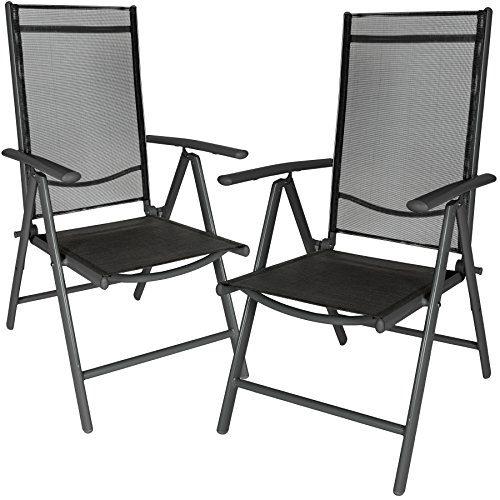 TecTake Aluminium Klappstuhl Gartenstuhl Set verstellbar mit Armlehnen - diverse Farben und Mengen - (Anthrazit | 2er Set | Nr. 401633)