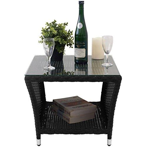 Polyrattan Loungetisch 50x50cm Schwarz mit Tischglasplatte und Ablagefläche Serviertisch Beistelltisch Couchtisch