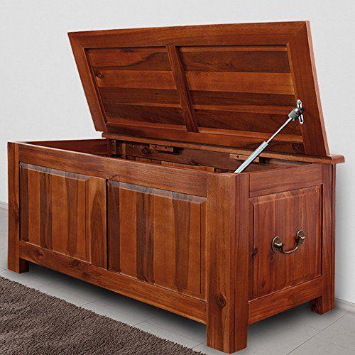 Deuba Holztruhe Auflagenbox Holzkiste Wäschetruhe Aufbewahrungsbox Sitzbank Tischtruhe Truhe 85x44x48cm