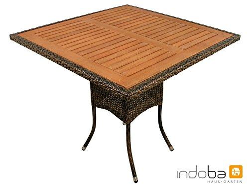 """Indoba Gartentisch """"Valencia"""" quadratisch - Polyrattan, Serie - IND-70113-TI, braun, 85 x 85 x 74 cm"""