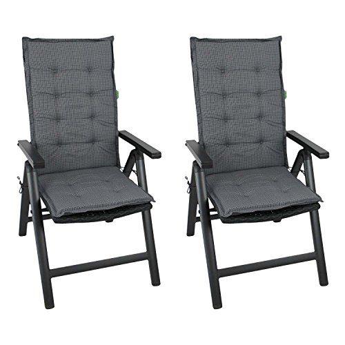 2er Set Elegante Gartenstuhlauflage Stuhlauflage Polsterauflage Hochlehner 110x44cm - 4cm dick Sitzauflage Sitzpolsterauflage Sitzkissenpolster
