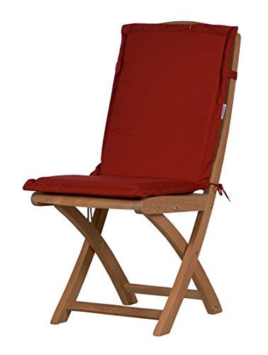 4 x Bordeauxrote Sitzauflage für Garten-Stühle & Klappstühle, 88 x 40 cm | Premium Polster-Auflage aus lichtechtem Dralon ✓ Maschinen-waschbares Stuhl-Kissen für Gartenmöbel ✓ Höchster Sitzkomfort als Sitzkissen für Niedriglehner