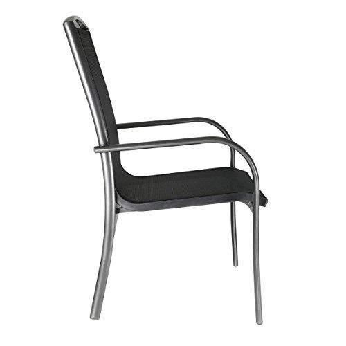 greemotion Alu-Gartenstuhl stapelbar Aruba – Stapelstuhl aus Aluminium in Grau mit Textilene-Auflage in Schwarz – Design-Gartensessel zum Stapeln – Lounge-Stapelsessel für Garten & Terrasse