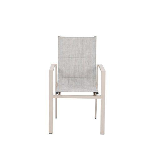 Greemotion Stapelstuhl Stockholm weiß/grau, Sitzmöglichkeit für In- und Outdoor, platzsparender Terassenstuhl, hochwertiges Aluminiumgestell, schnelltrocknende 2x1 Textilene