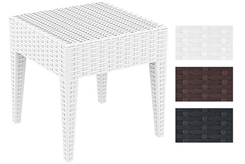 CLP Design-Gartentisch MIAMI aus Polyrattan | Beistelltisch aus hochwertigem Kunststoffgeflecht | Stapelbarer Tisch in Rattan-Optik mit einer Höhe von: 45 cm | In verschiedenen Farben und Größen erhältlich Weiß, 45 x 45 cm
