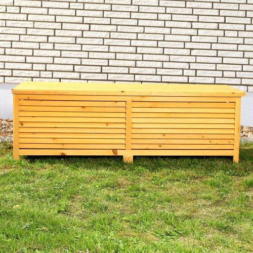 Melko® Auflagenbox Kissenbox Gartenbox mit klappbarem Deckel, regenfest, aus Holz, 46 x 140 x 52 cm, Gartentruhe Holztruhe
