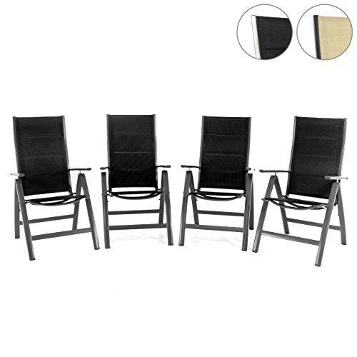 Nexos 4er Set Deluxe Klappstuhl gepolstert – Textilene schwarz/Rahmen dunkelgrau - Gartenstuhl Liegestuhl – klappbarer Stuhl aus Aluminium & Kunststoff