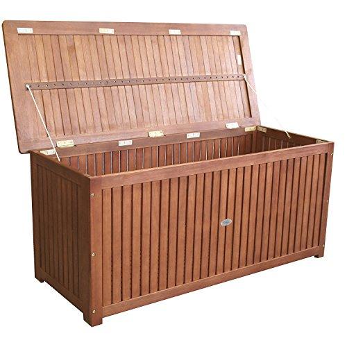 Wohaga® Gartenbox 133x58x55cm inkl. Innenplane Auflagenbox Kissenbox Gartentruhe Holztruhe Hartholz Akazie Auflagentruhe Sitztruhe