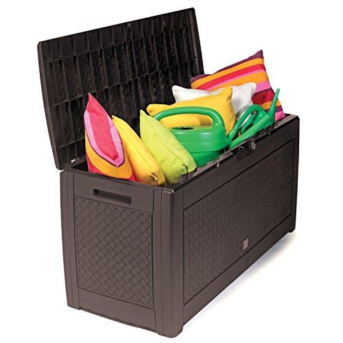 Kunststoff Auflagenbox Kissenbox Gartenbox mit Rollen Rattan-Optik für Polsterauflagen Kunststoff wasserdicht Mokka 310Liter