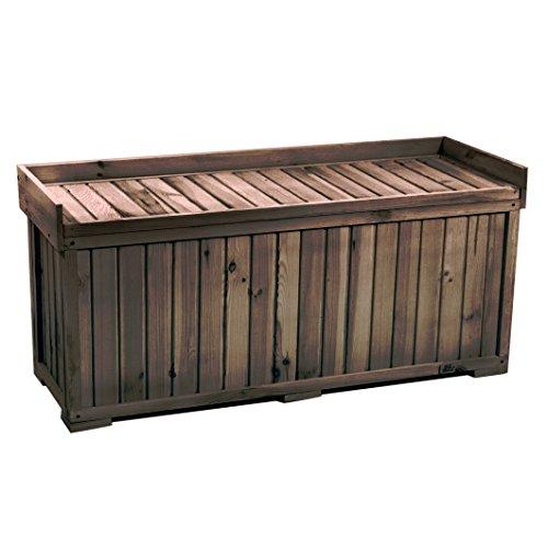 proheim Auflagen-Box mit Sitz aus 100 % FSC Holz stabile Universal-Box Kissen-Box Sitzbank, Farbe:Anthrazit, Größe:132 x 64 x 60 cm