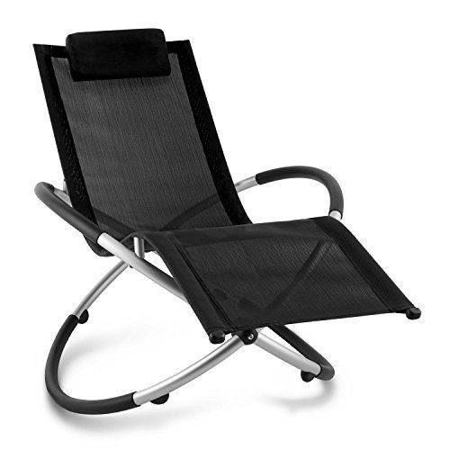 Blumfeldt Chilly Billy • Liegestuhl • Gartenstuhl • ergonomische Relaxliege • Klappstuhl • Liege • Aluminium • 180kg maximale Belastung • atmungsaktiv • witterungsbeständig • faltbar • schwarz