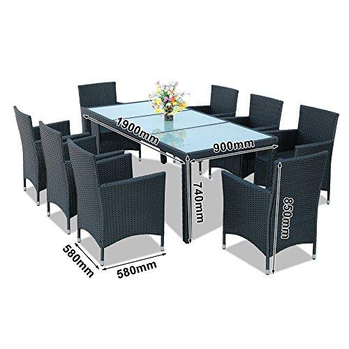 Hengda® Sitzgarnitur 8+1 PolyRattan Gartenmöbel Schwarz Wetterfestes Gartenset Stühle mit Armlehnen Sicherheitsglas Tischplatte Set Für Garten Terrasse