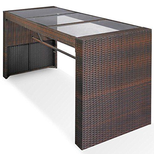Polyrattan Bartisch | Gartenmöbel | Gartentisch | Rattantisch | Lounge Tisch Farbe Braun