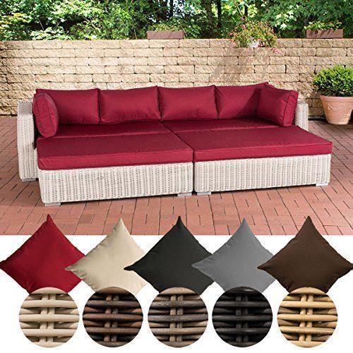 CLP Polyrattan - Loungesofa TERRASSA mit großzügiger Liegefläche | Lounge-Bett mit hochwertigen Polsterauflagen und Kissen | In verschiedenen Farben erhältlich Bezugfarbe: Rubinrot, Rattan Farbe perlweiss