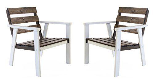 Ambientehome Gartensessel Loungesessel Sessel Gartenstuhl Massivholz HANKO, Weiß/Taupegrau, 2-teiliges Set