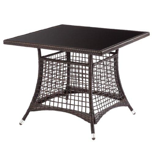 Ultranatura Polyrattan Glastisch mit Seitenteilen, Palma-Serie -  90 x 90 x 73 cm