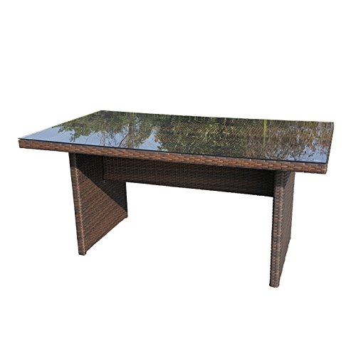 Gartentisch aus Polyrattan in mocca mit Glasplatte - Esstisch für Garten, Terrasse oder Balkon
