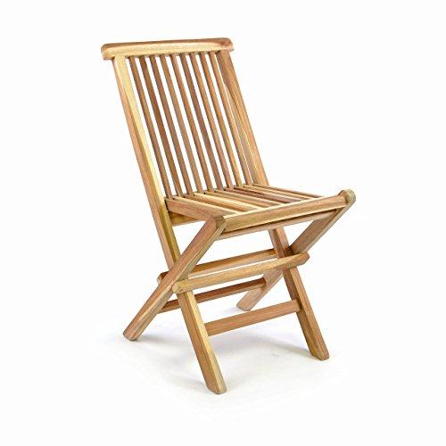 Divero Kinderstuhl Gartenstuhl Klappstuhl Holzstuhl – Teakholz Stuhl für Terrasse Garten – Kompakt klappbar unbehandelt – Natur-Braun