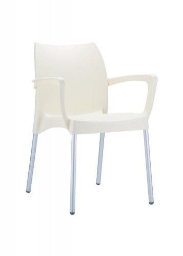 CLP Gartenstuhl DOLCE mit Metallgestell und Kunststoffsitz | Wetterbeständiger Stapelstuhl bis zu 160 kg belastbar | In verschiedenen Farben erhältlich Creme