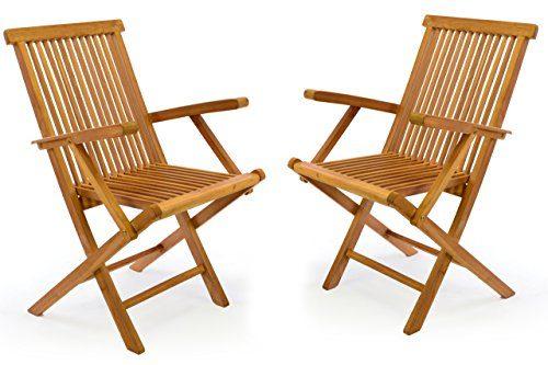 DIVERO 2er-Set Klappstuhl Teakstuhl Gartenstuhl Teak Holz Stuhl mit Armlehne für Terrasse Balkon Wintergarten witterungsbeständig behandelt massiv klappbar natur