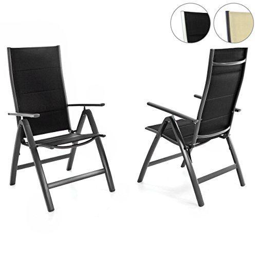 Nexos 2er Set Deluxe Klappstuhl Gepolstert – Textilene Schwarz/Rahmen Dunkelgrau - Gartenstuhl Liegestuhl – klappbarer Stuhl aus Aluminium & Kunststoff