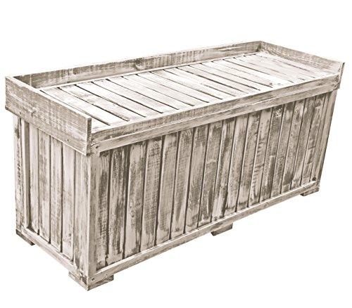 Auflagenbox Gartenbox Garten Truhe NOPT Holzbox 122,5 x 41,5 x 56cm Kiefer