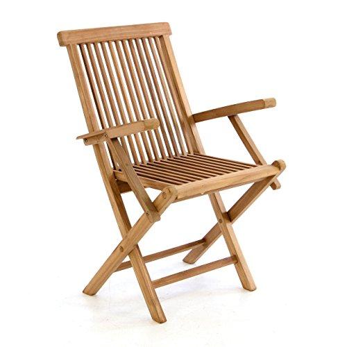 Divero Gartenmöbel-Set Terrassenmöbel-Garnitur Sitzgruppe – großer Esstisch 170/230 cm ausziehbar + 6x Klappstuhl mit Armlehne – Teak massiv behandelt