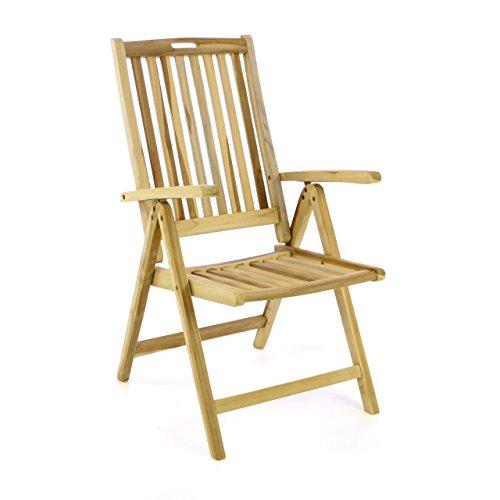 Divero Stuhl Gartenstuhl Terrassenstuhl Klappstuhl aus Teak-Holz Hochlehner mit Armlehnen Verstellbare Rückenlehne klappbar Massiv unbehandelt Natur