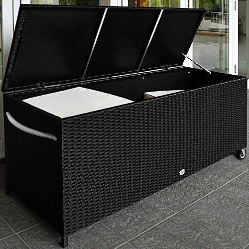 Deuba Auflagenbox | Poly Rattan | Rostfreies Aluminiumgestell | Rollbar| Hubautomatik | Gartentruhe Gartenbox Kissenbox Kissentruhe