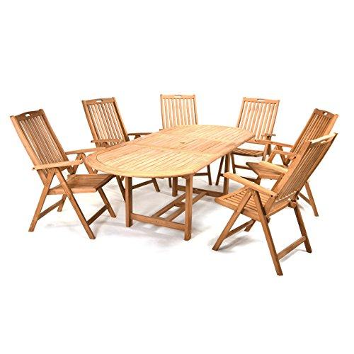 Divero Gartenmöbel-Set Terrassenmöbel-Garnitur Sitzgruppe – großer Esstisch 170/230 cm ausziehbar + 6 Hochlehner mit Armlehne – Teak massiv behandelt