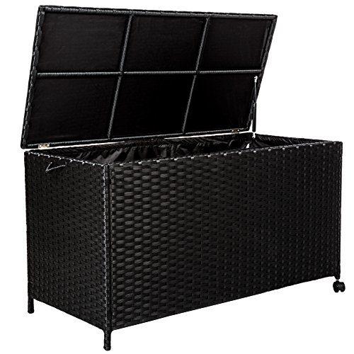 TecTake Rattan Auflagenbox Garten Kissenbox rollbar | wetterfestes Aluminiumgestell | mit Gasdruckstoßdämpfer | 117x54,5x65cm | schwarz