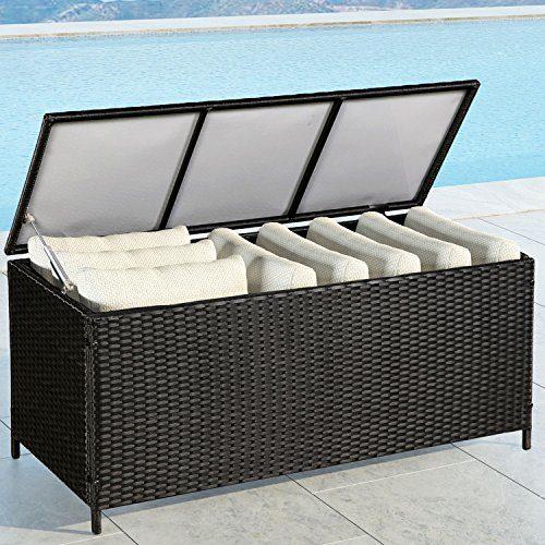 ArtLife Polyrattan Gartenmöbel Auflagenbox mit wasserabweisender Innenplane in schwarz