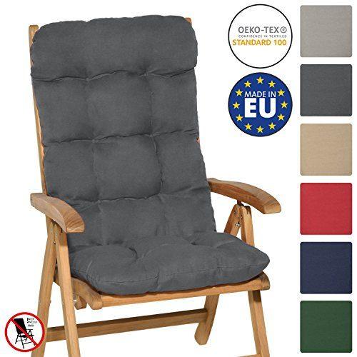 Beautissu Hochlehner Auflage Flair HL 120x50x8cm Sitzkissen Rückenkissen Sitzpolster Schaumflockenfüllung Graphit-Grau