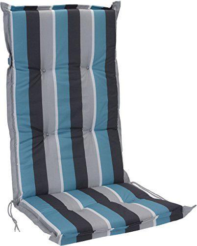 Pflegeleichtes Polster für Hochlehner - blau - Gartenstuhl Auflage mit Haltegurt - Sitzkissen Stuhlauflage