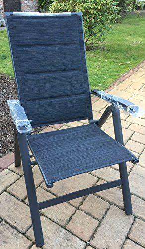 Alu-Klappsessel Klappstuhl Gartenstuhl Stuhl Aluminium 7-fach verstellbar (Schwarz)