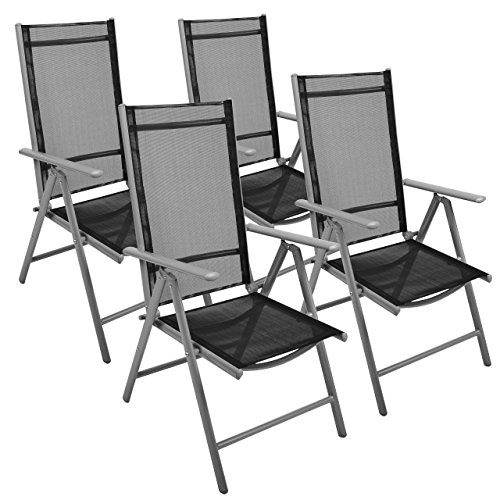 Nexos 4-er Set Stuhl, Klappstuhl, Gartenstuhl, Hochlehner für Terrasse, Balkon, Camping Festival, aus Aluminium verstellbar leicht, stabil, schwarz