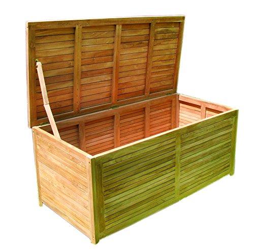 Linder Gartenbox Teak 145x70x65cm Holz geschlossene Lattung Gartentruhe m. Edelstahls.
