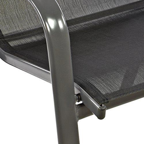 Nexos 2er Set Gartenstuhl Stapelstuhl Balkonstuhl Hochlehner Stahl-Rahmen Textilene schwarz Terrasse Stahlstuhl 55x72x97 cm bis 110 kg stapelbar witterungsbeständig mit Armlehne