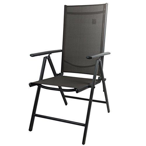 Aluminium Gartenstuhl mit 2x2 Textilenbespannung, Lehne um 7 Positionen verstellbar, klappbar, Anthrazit - Hochlehner Positionsstuhl Campingstuhl Klappstuhl