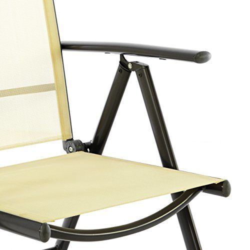 Nexos 4er Set Klappstuhl Klappsessel Gartenstuhl Campingstuhl Liegestuhl – Sitzmöbel – klappbarer Stuhl aus Aluminium & Kunststoff - Creme (Textilene)/Anthrazit (Rahmen)