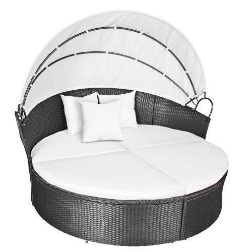Miadomodo Hochwertige Polyrattan Ø 180 cm Sonneninsel Lounge Liege (Farbwahl) inkl. Kissen, Sitzauflage und Sonnendach (Grau)