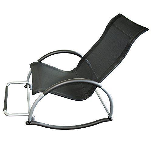 Trueshopping Ledro Schaukelstuhl mit Fußstütze Licht 4.5kg. Starke Aluminium-Rahmen Schwarz Easy Care Textil-Gewebe. Gentle Rocking Bewegung. Praktischer, leicht transportierter, stilvoller Stuhl
