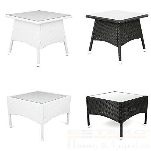 Polyrattan Tisch - versch. Größen Beistelltisch Rattan Teetisch Gartentisch Terrasse (50x50x45 cm, Schwarz)